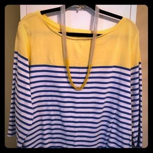 Talbots yellow, & blue striped cotton pullover